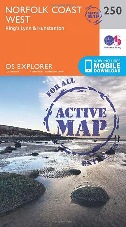 OS Explorer Active - 250 - Norfolk Coast West