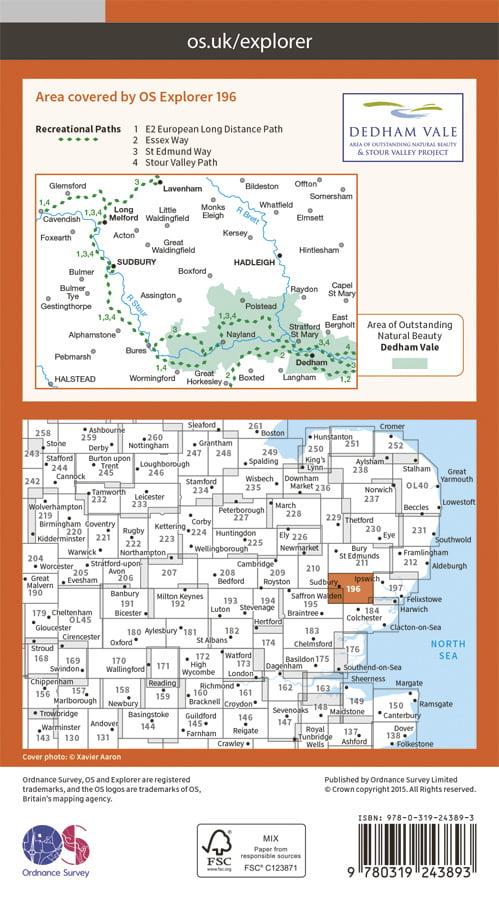OS Explorer 196 - Sudbury, Hadleigh & Dedham Vale