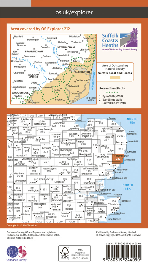 OS Explorer Map 212 - Woodbridge & Saxmundham, Suffolk