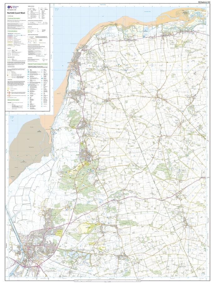 OS Explorer Map 250 - Norfolk Coast West