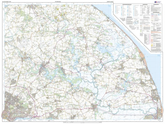 OS Explorer Leisure Map OL40 - The Broads Norfolk and Suffolk
