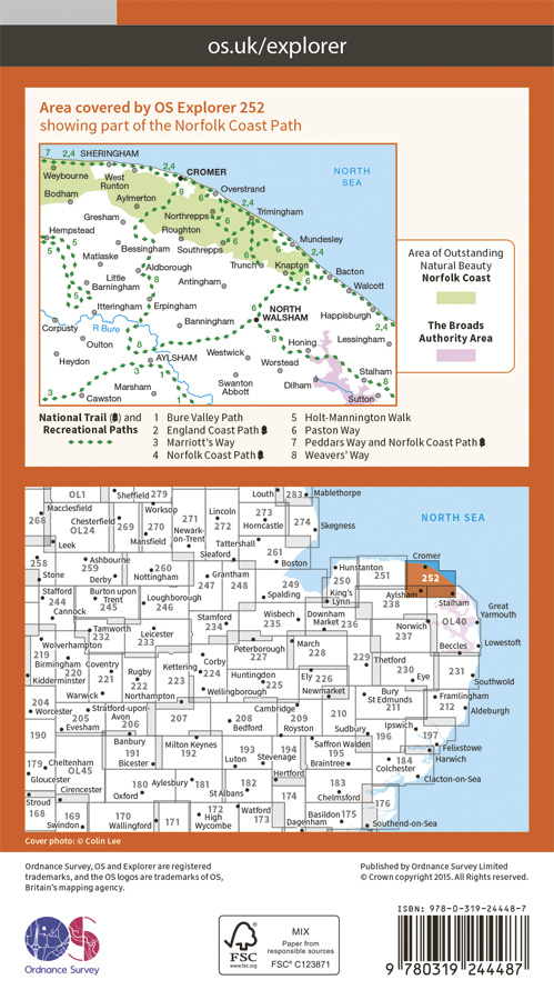 OS Explorer Map 252 - Norfolk Coast East